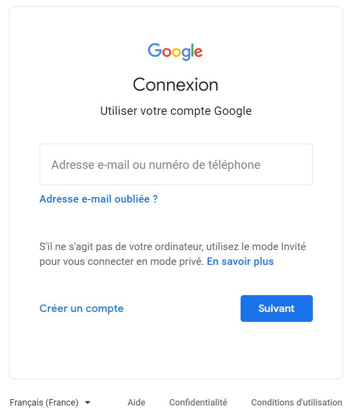 Page de connexion Google